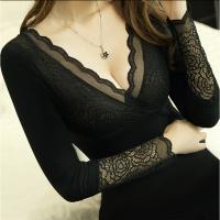 保暖内衣 女士加厚加绒上衣紧身美体秋冬女神衣蕾丝V领秋衣打底衫 黑色 建议80-140斤 均码