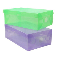 星空夏日 翻盖式透明鞋盒女款 紫色 十只装