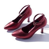 质感光泽 一字扣带 浅口尖头 牛皮 高跟单鞋 女 710E021