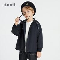 【2件4折价:187.6】安奈儿童装男童春季外套2021新款中大童薄款夹克防风运动型上衣