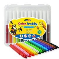 AMOS 超级可水洗12色水彩笔(产地:意大利)CB12儿童绘画工具幼儿园儿童涂色涂鸦笔 当当自营