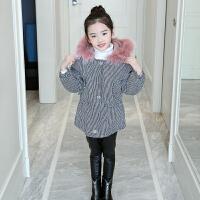 女童棉衣装2017新款加绒外套洋气儿童格子棉袄毛领女孩羽绒 图片色