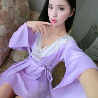 性感睡衣女蕾丝火辣透明冰丝薄纱吊带睡裙秋冬两件套装