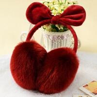 201808232355562922018新款女款可爱冬季天护耳包儿童学生保暖时尚耳朵卡通耳罩耳套耳帽韩版 酒红色 兔