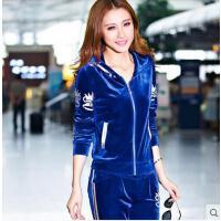 长袖运动服卫衣休闲套装时尚   新品金丝天鹅绒运动套装女款