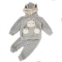 儿童睡衣珊瑚绒加绒加厚法兰绒卡通秋冬季女童宝宝男童家居服套装 灰色 连帽小兔套装