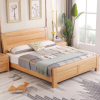 实木床榉木床双人原木1.8米1.5m主卧储物高箱床中式现代简约家具 +2个床头柜