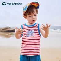 迷你巴拉巴拉儿童背心2021夏季新款男童纯棉背心亲肤透气无袖T恤