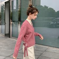 毛菇小象毛衣女秋冬外穿套头2060新款宽松圆领显瘦绑带毛针织衫