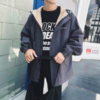 男士夹克秋季百搭休闲宽松外套男青少年学生连帽外衣潮流韩版简约DJ-DS227