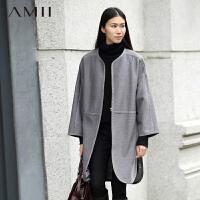 【到手价:80】AMII[极简主义]冬新品宽松时尚圆领包边侧开叉毛呢大衣女11410860