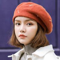贝雷帽女网红同款时尚韩版日系百搭时尚潮羊毛呢蓓蕾帽蜻蜓画家帽南瓜帽户外运动新品