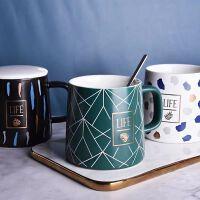 马克杯带盖勺创意个性潮流北欧风ins 陶瓷杯子文艺日式简约水杯女
