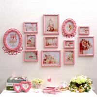 照片墙欧式实木相框粉色相片墙挂墙创意儿童房餐厅客厅卧室装饰品 12框爱丽丝花语