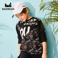 【限时抢:30】巴拉巴拉旗下 巴帝童装男童黑色T恤潮流嘻哈字母满印中大童19春新款