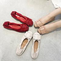 女士平底休闲单鞋 软底奶奶鞋时尚红色豆豆鞋 韩版百搭鞋子女圆头