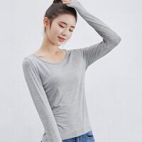 T恤 女士圆领莫代尔大码长袖T恤2020年秋季新款韩版时尚女式修身女装打底衫