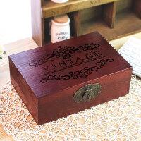 2019新款木质老木盒子带锁做旧收纳盒复古大木箱子小木箱家居家装收纳用品整理盒子储物盒置物