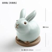可爱小兔子摆件创意家居办公室桌面装饰品动物玉兔工艺品摆设