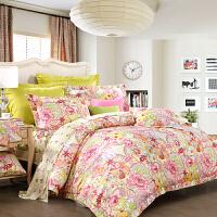富安娜家纺 圣之花床上四件套1.8m床单全棉被套纯棉斜纹丹若凝香