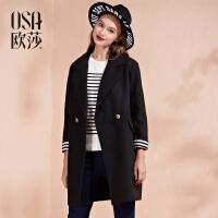 OSA欧莎女装冬装新款 长款长袖百搭时尚毛呢外套D21127