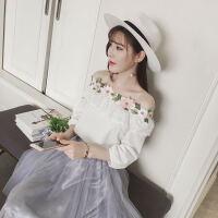 搭配裙子的白衬衫春夏甜美学生原宿风一字领露肩日系七分袖上衣潮