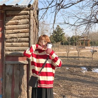 韩国学院风减龄撞色红条纹Polo领毛衣学生oversize针织上衣