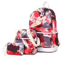 女士大学生书包女小清新印花旅行背包双肩包 三件套
