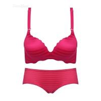 红色无钢圈性感小胸罩少女条纹波浪简约一片式文胸聚拢无痕内衣