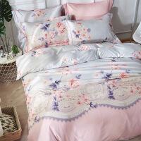 双面天丝四件套单双人公主风宿舍1.5m床单被套床罩床上用品