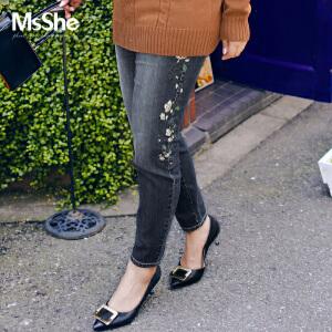 MsShe加大码女装2017新款冬装弹力修身中腰牛仔裤小脚裤M1740319