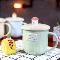 包邮 爆款手绘咖啡屋马克杯 早餐杯 带盖创意咖啡杯 水杯
