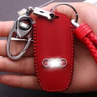 专用于奥迪A6L钥匙包Q5套Q3折叠A3女士A5扣A1壳Q7汽车A7新A4L A款 红线(皮套+扣+绳)