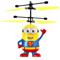遥控飞机充电感应飞行器 充电可发光耐摔 悬浮小黄人无人直升机儿童电动玩具