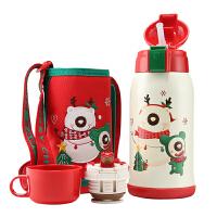杯具熊(BEDDYBEAR)儿童保温杯带吸管316不锈钢双盖儿童水壶630ml 3D版-限量圣诞款