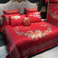 商场同款新中式中国风结婚床上用品刺绣全棉四件套红色婚庆十件套HHYY