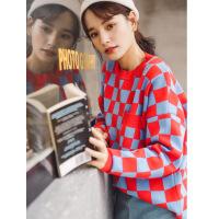 卡茗语2018秋季新款女装韩版学院圆领宽松格子毛衣时尚百搭套头针织衫