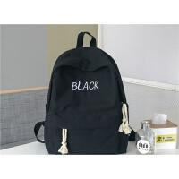 帆布纯色书包女韩版校园百搭高中大学生双肩包约森系背包旅行包