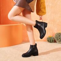 camel骆驼秋季新款短靴时尚英伦套脚靴子平底牛皮短筒女靴子