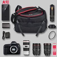 相机包佳能80D800D6D2EOS单反77D750D5D4原装单肩防水便携摄影包 黑色大号 含防雨罩
