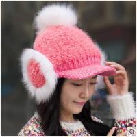 女冬季加厚保暖帽加绒护耳帽韩版针织帽可爱毛球鸭舌帽