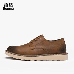 森马男鞋秋季大头鞋男士休闲皮鞋韩版英伦复古工装鞋马丁鞋潮流鞋子男