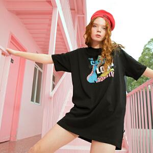 PASS2018夏装新款短袖连衣裙女宽松卡通印花套头裙短裙t恤中长款