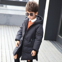新款男童羽绒服中长款儿童加厚羽绒服男中大童连帽季青少年外套