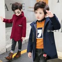 男童毛呢外套韩版童装秋装2017新款中大儿童织带呢子大衣中长款