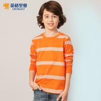 2018春装新款男童长袖条纹T恤中大童休闲儿童圆领套头纯棉打底衫