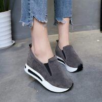 韩版潮搭套脚绒面内增高休闲运动低帮鞋松糕厚底乐福鞋女