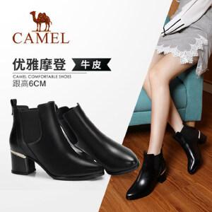 Camel/骆驼女鞋2018冬季新款 粗跟摩登时尚潮流气质低跟短筒女靴