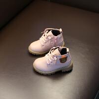 宝宝马丁靴男童秋冬新款小童棉鞋韩版1-2-3岁女童软底儿童短靴潮 粉红色 (单鞋版)