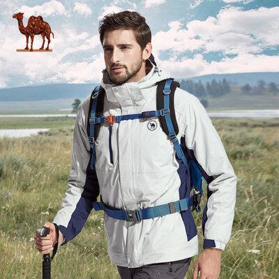 骆驼户外冲锋衣 两件套情侣款三合一冲锋衣防水透气保暖登山服